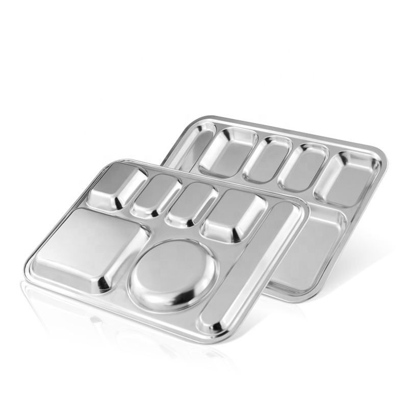 Wholesale Prison Military Canteen Cafeteria Mess Thali Plates Stainless Steel 7 Compartments Lunch Food Tray