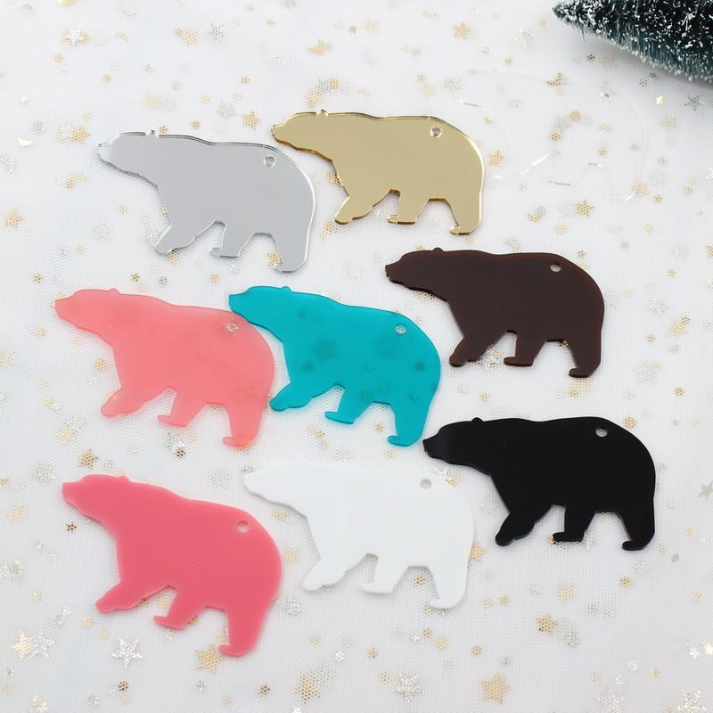 AC1052 -3inches Acrylic Bear Keychains Black White Pink / Matt /Mirror/Clear Bear Mom Monogram Keychain 76mm
