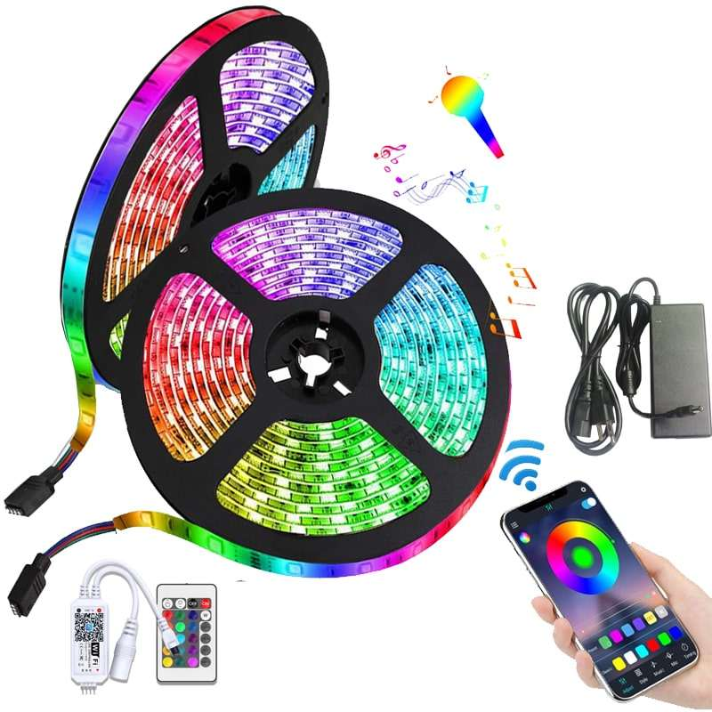 Led light strips 5050 rgb with remote set smart wifi car colors connector 10m free sample 12v 24v flexible led strip light