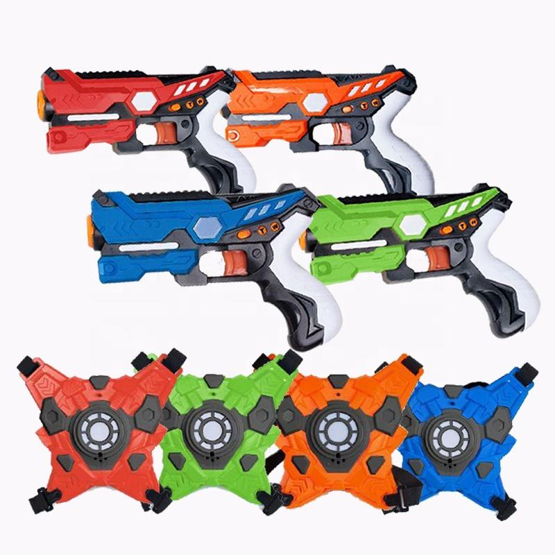 amazon hot selling shooting game electric gun toy set vests tag infrared laser gun for 4 players