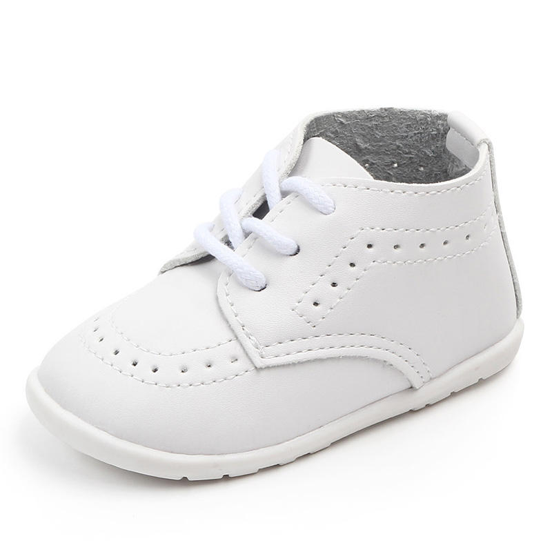 China manufacturer factory good quality soft infant toddlers baby shoes white black PU leather shoes for baby