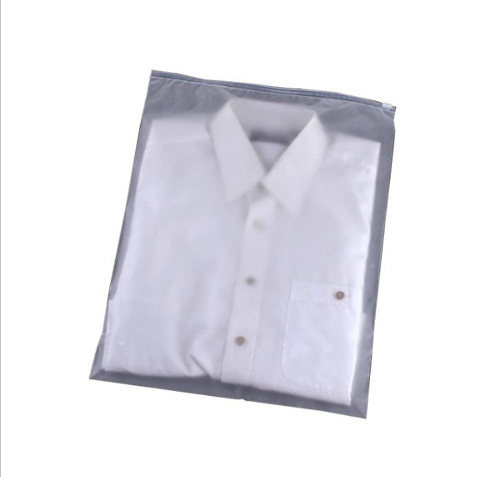 Logo Custom Transparent Zip Lock Plastic Bag Clothes Self-Seal Frosted Clothing Bags with 100% Biodegradable