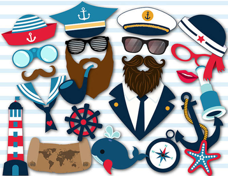 Sailor <span class=keywords><strong>Party</strong></span> Accessoires Supply Funny Diy Navy Sailor Captains Photo Booth Props Nautische Foto Props Partij Gunsten Supplies