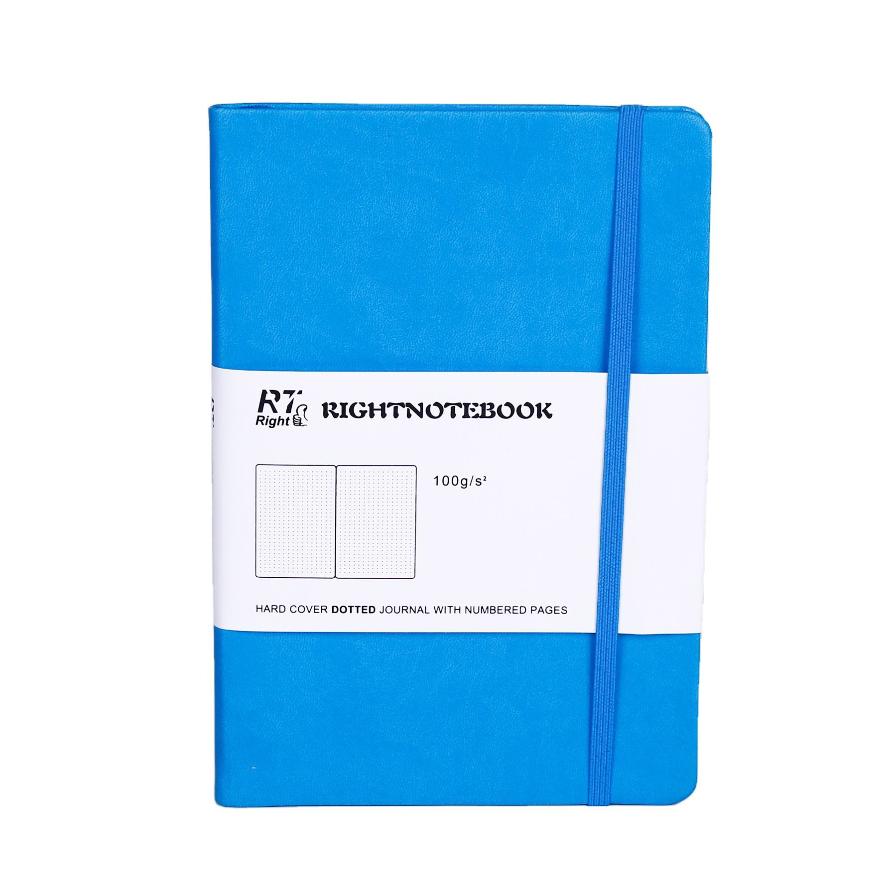 design A5 blue leather 200 page ruled writing note books economic notebook journal with pocket
