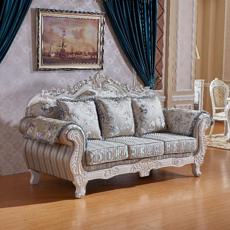Antique French Formal Design Fabric Sofa Set 3pc Crafted Living Room Furniture