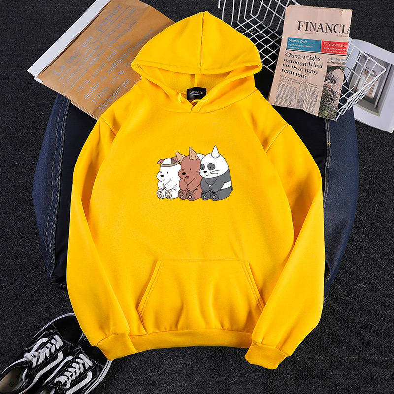 Bare bear brothers print couple guard hoodie couple 2020 autumn and winter new loose harajuku popular couple hoodie jacket