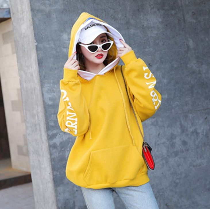 Lx30231a Korea Fashion Wanita Pakaian Musim Gugur Panjang Hoodies Plus Ukuran Kasual Hoodies