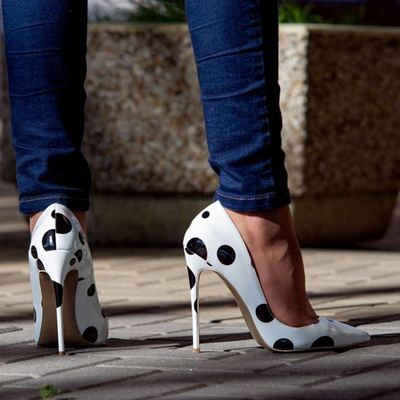 Wholesale new trend women polka dot shoes red bottom shoes high heels ladies footwear for women party wear large size