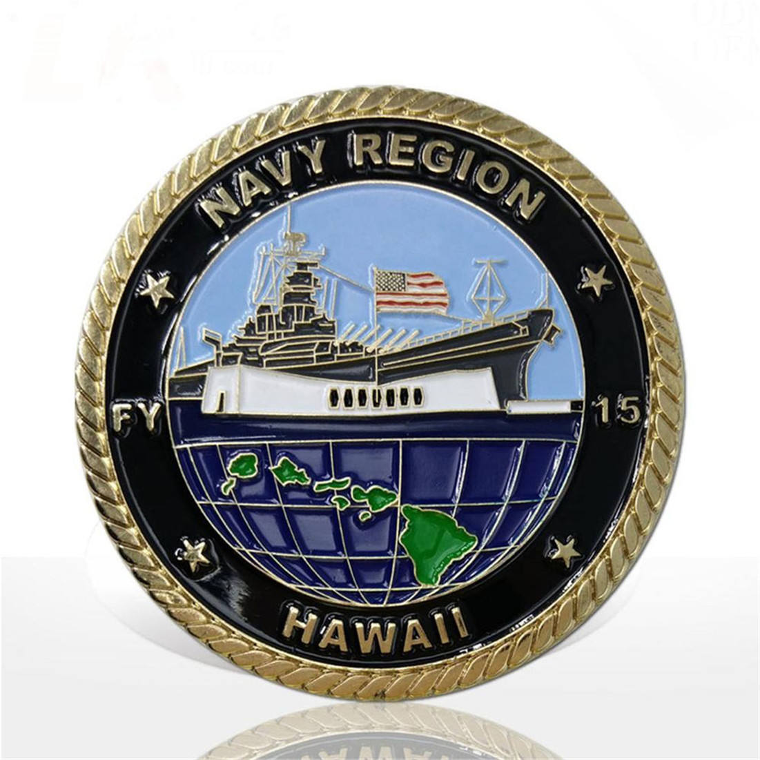 Factory direct sell custom rudder shape nautical navy metal challenge coin