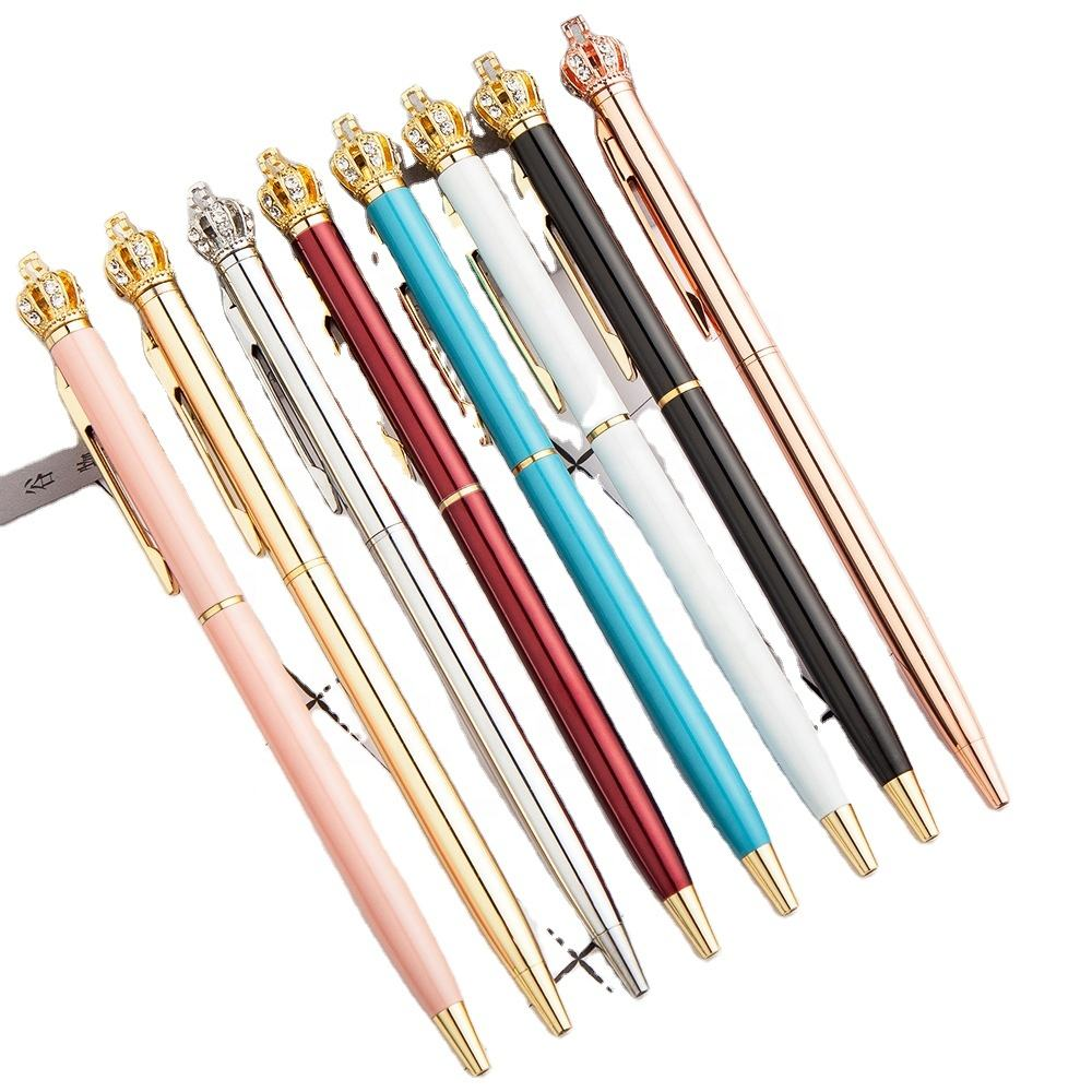 High Quality Luxury Promotion Logo Customized Crown Thin silm Metal Ball Point Pen