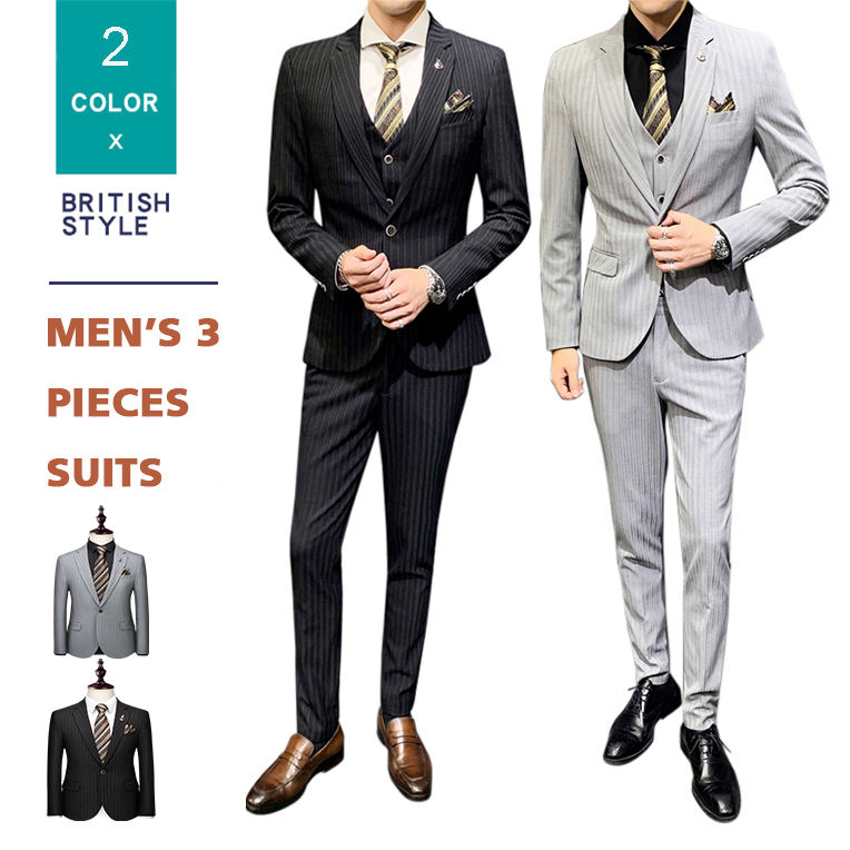 Bridegroom Tuxedo Striped Wedding Men's Suit 3 Pieces Casual Blazer Suits Set for Men BusinessTuxedo+Shirts