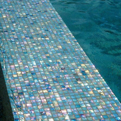 New building construction 8mm thickness Iridiscent crystal glass mosaic for swimming pool tile