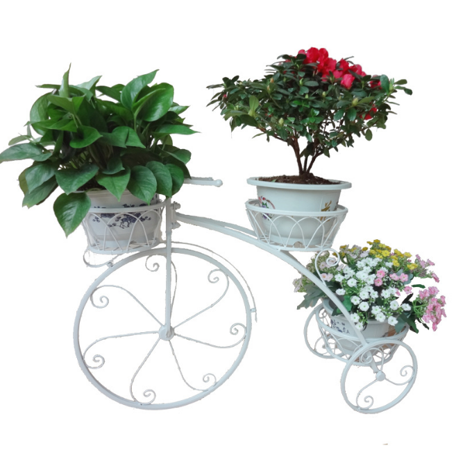 "16"" Metal iron bicycle small flower accessories flower stand for wedding decoration props home decor plant display"