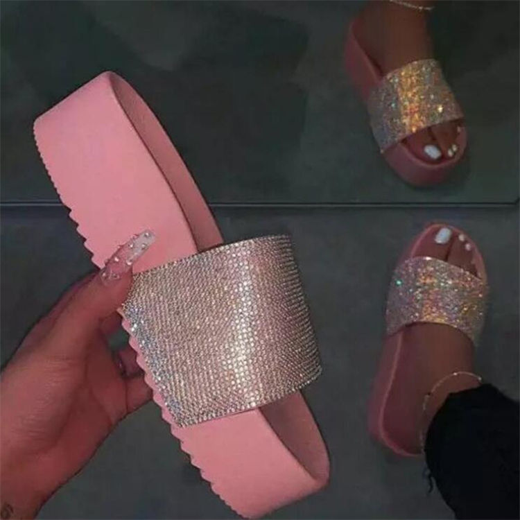 Custom Logo 2020 Ladies Platform Slides Women Shoes Chunky Sparkly Sandals Bling Slide Slippers