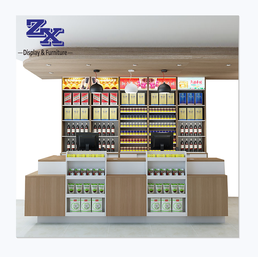 2020 hot sale retail store counter with display self, cashier convenience grocery retail store furniture with drawer