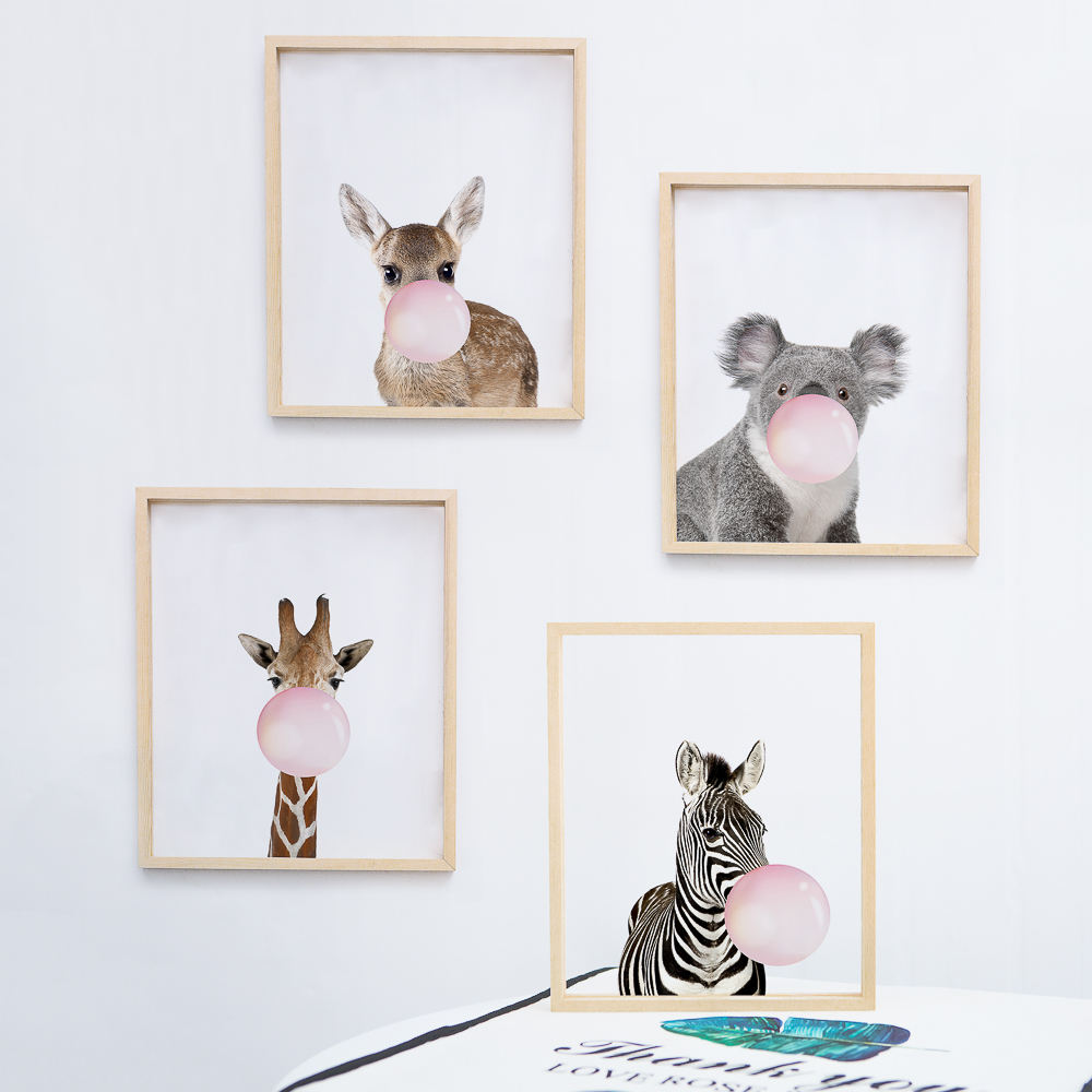 Funlife Modern Watercolor Animal Wall Art Framed Minimalist Wall Art Paint for children for Baby Room Nursery Decoration