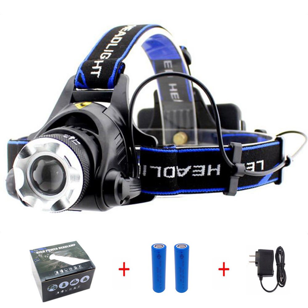 Super Bright 18650 USB Rechargeable LED Headlamps with Zoomable Work Light  Hard Hat Light for Camping  Hiking  Outdoors