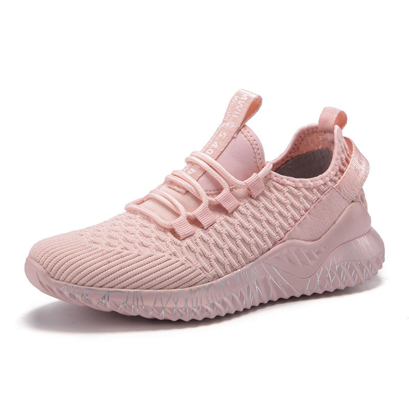 Top brand outdoor walking shoes upper knitting pink ladies fancy sports shoes