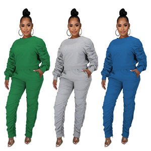 Womens Fall Winter Sweat Suits Stacked Sweatpants Two Piece Outfits Ruched Long Sleeve Joggers Winter Clothes For Women