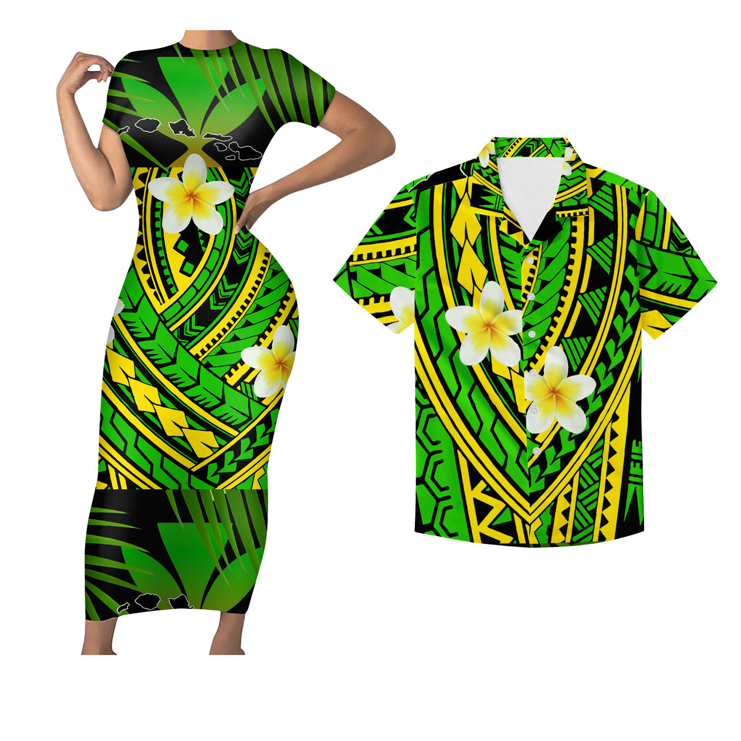 Mix Color Maoli Tribal Polynesian Hawaii 2Pcs Set Women Summer Short Sleeve Long Dress Match Men Shirt Couple Clothing Plus Size