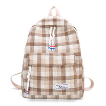 Canvas backpack fashion arts girls students lattice backpack summer new small fresh junior high school bags tide