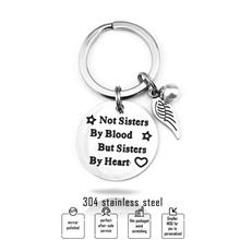 "Best friends keychain keyring ""not sisters by blood but sisters by heart"" friendship jewelry gift for women girls"
