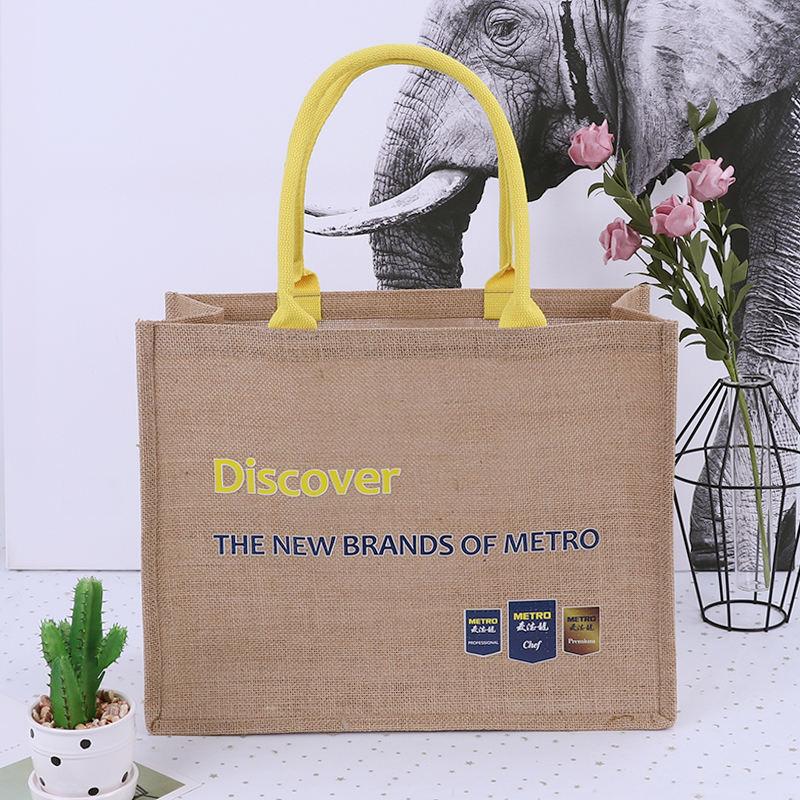 Eco amigable diseño personalizado de yute bolsa de almacenamiento de bolsa de arpillera