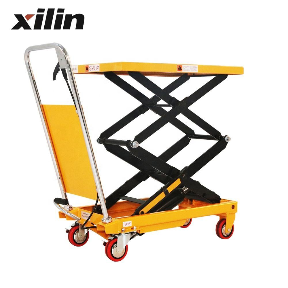 Xilin 150kg 330lbs manual hydraulic Double Scissors Lift Table