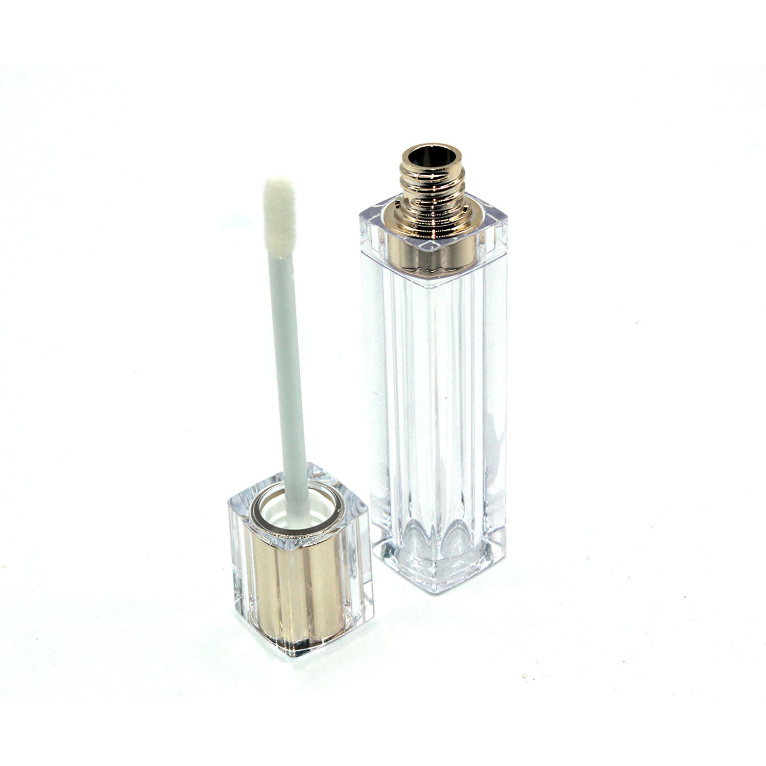 8ml wholesale square gold lip gloss tubes transparent lip gloss tubes with wands bulk glass lip gloss tube