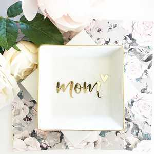 Mothers Day Gift Unique Ceramic Square Mom Jewelry Ring Dish Girl Birthday Gift
