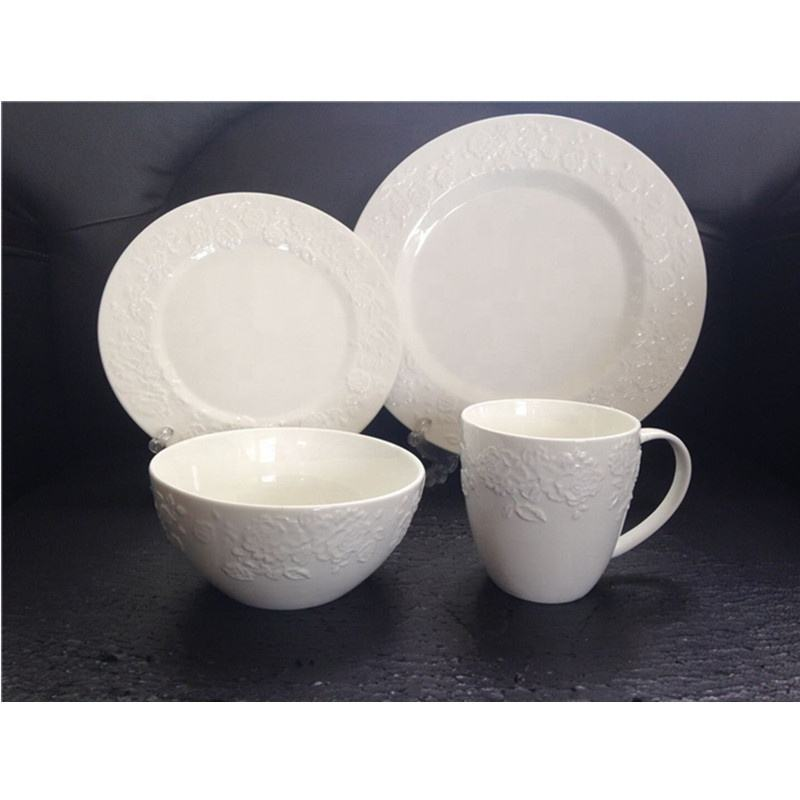 Cheap Wholesale Stock Crockery Italian Porcelain Dinner Plate Sets Ceramic Embossed Saudi Arabia Bone China Dinner Sets