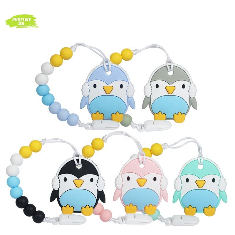 2020 Wholesale Free Samples Penguin Shape Chew Kids And Babies Toys Silicon Teether With Clip Custom Logo