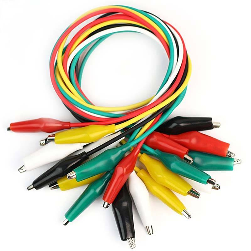 Best Selling 5 color Double-ended Crocodile Clips Cable Alligator Clip cable Testing Wire with 10pcs