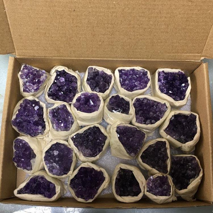Hot Selling High Quality Natural Uruguay Amethyst Cluster Amethyst Geode Crystal Cluster Raw Gemstone Healing Stones With Box
