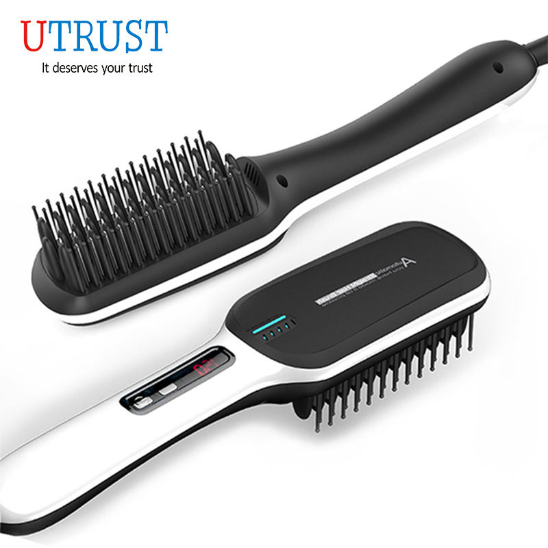 Adjustable Temperatures Hair Care Straight Heated Comb 2 in 1 Electronic Ceramic Hair Straightening Brush