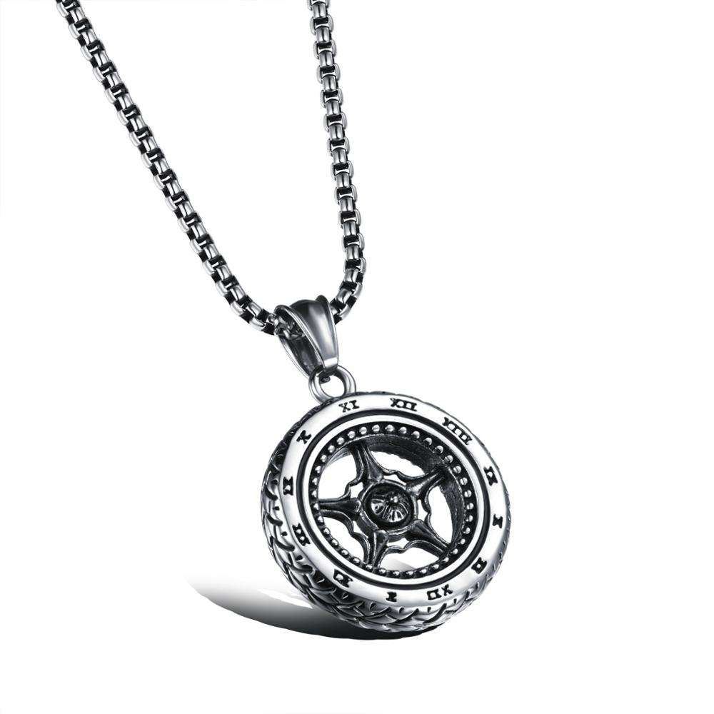 Punk Titanium Steel Jewelry Wheel Tyres Stainless Steel Pendant Men's Necklace Engrave With Roman Numerals