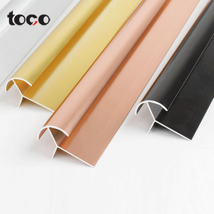 toco Champagne Anodized Polished Edging Trim Inside Tile Profiles Aluminum Extrusion Corner