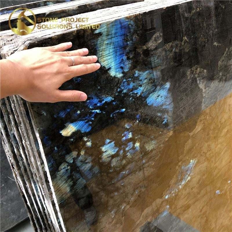 Remise spéciale Pierre <span class=keywords><strong>Brossé</strong></span> Labradorite Dalle de Granit Bleu Grand Pour La Décoration De La Maison