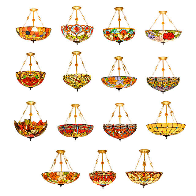 Stained Glass Lighting Factory Bowl Pendant Lamp Chandelier Light Art Style Lamps Pictures Deco Antique Tiffany Chandeliers