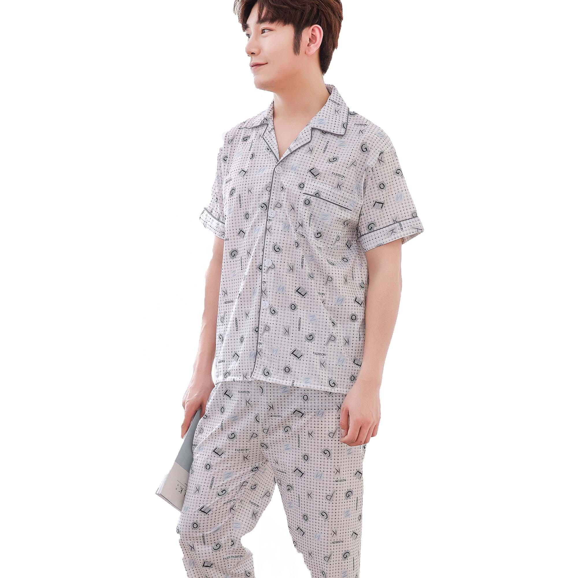 Korean Style Men's Pajamas Set Short Sleeve Long Pants Sleepwear Sir Papa Cotton Night Sleep Pajamas