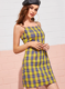 Girl summer sexy checked suspenders casual dress