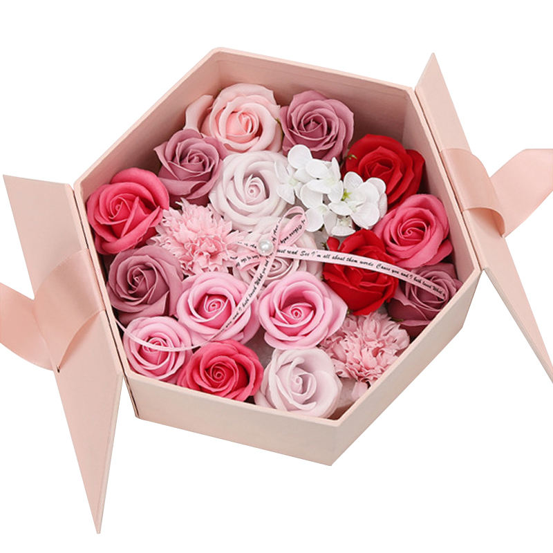 cheap wedding rose flower gift box paper packaging boxes with ribbon