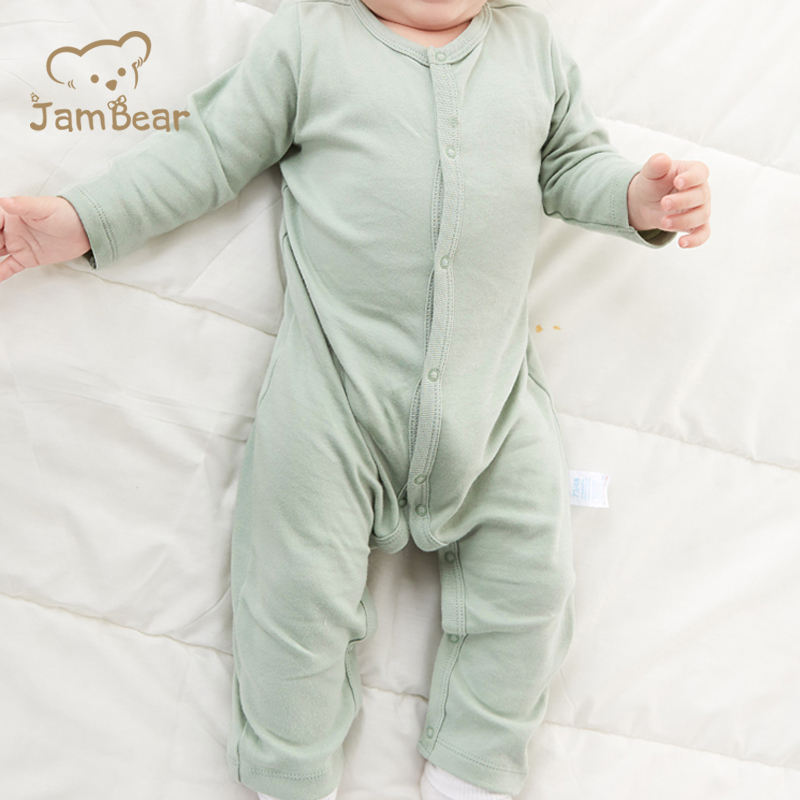 JamBear 100% organic cotton Baby Clothing baby long sleeve jumpsuit Pajamas Footie for Kids zipper eco-friendly comfortable