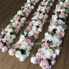 LFB1328 Latest Artificial Table Runner Wedding Rose Garlands Decorative Flowers & Wreaths for Flower Arch Decoration