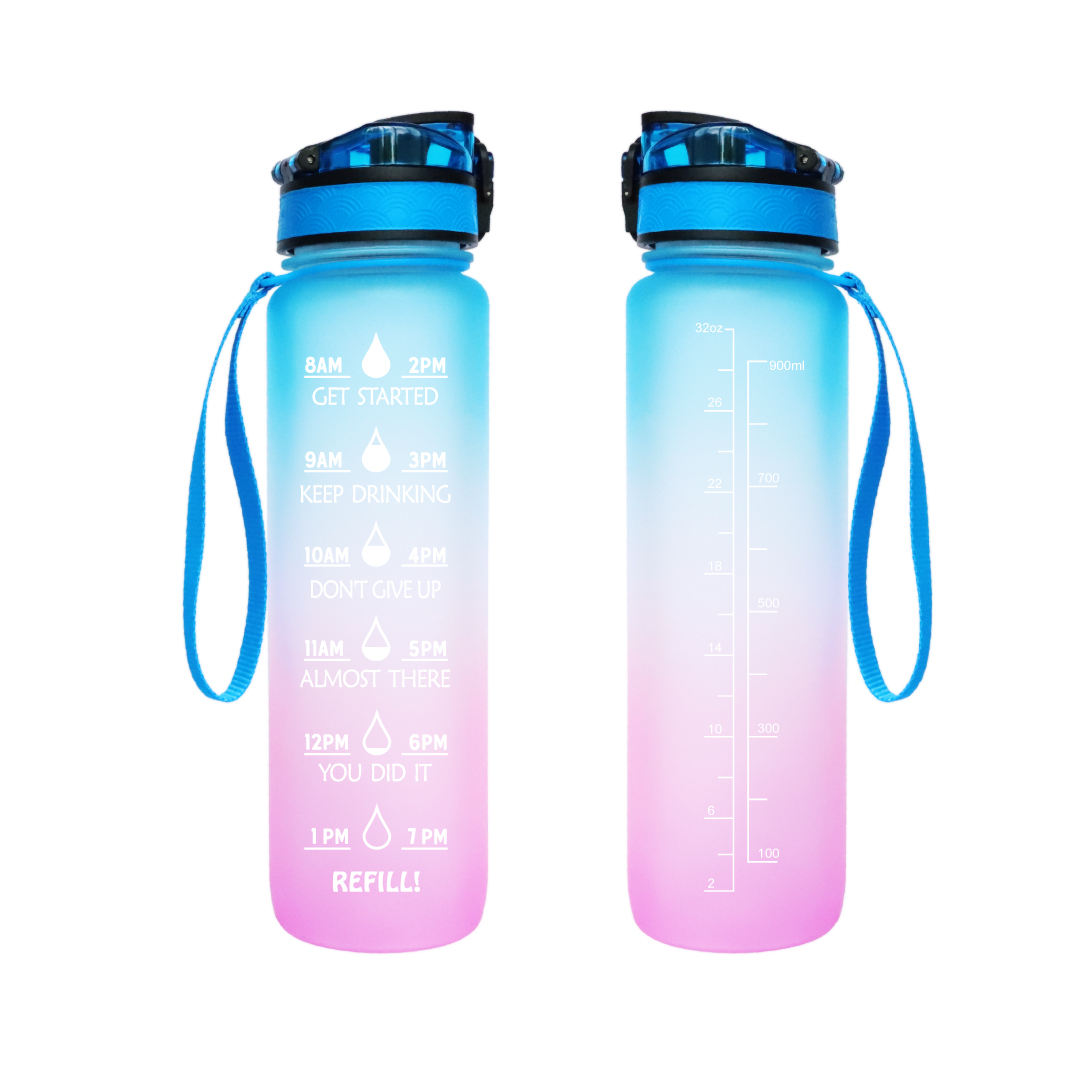 32 oz Fitness Sports Water Bottle with Time Marker 1 liter plastic Leak Proof Gym sports water bottles With Custom Logo