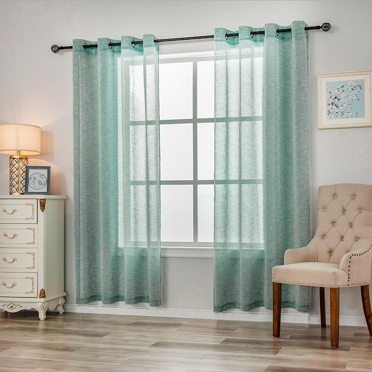 Wholesale Classic Living Room Window Faux Linen Ready Made Sheer Curtain And Drapes From China