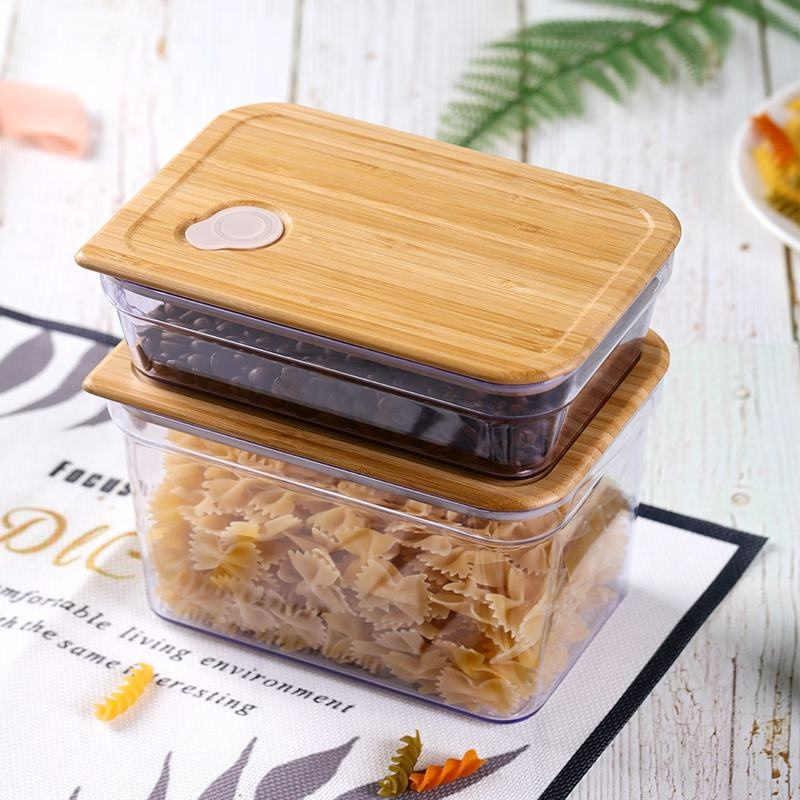 Eco-friendly BPA free plastic container with bamboo lid/ food safe air tight plastic storage jar set