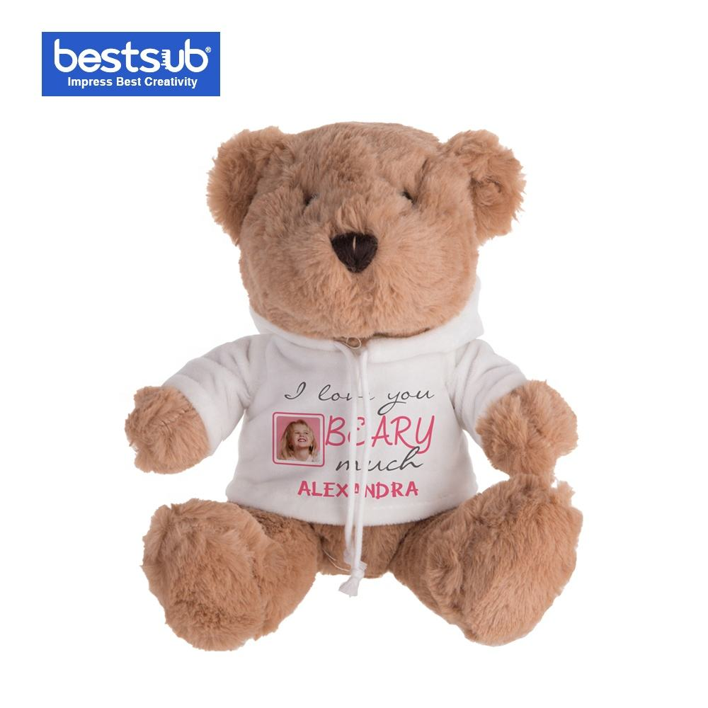 20cm Sublimation Light Brown Teddy Bear with Hoodie Wholesale Cute Dress Birthday Gifts Plush Toys Doll Bear TDBE20DLBR