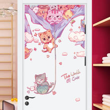Cat door stickers Children's wall glass decor sticker room porch door office catering tea shop cartoon decorative wall stickers