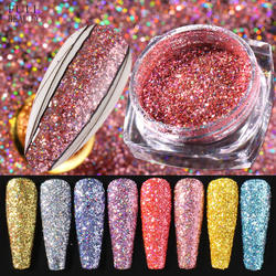 1Box Laser Polishing Chrome Pigment Dazzling Dust Holographic Nail Glitter Sequins Silver Rose Gold Dipping Powder
